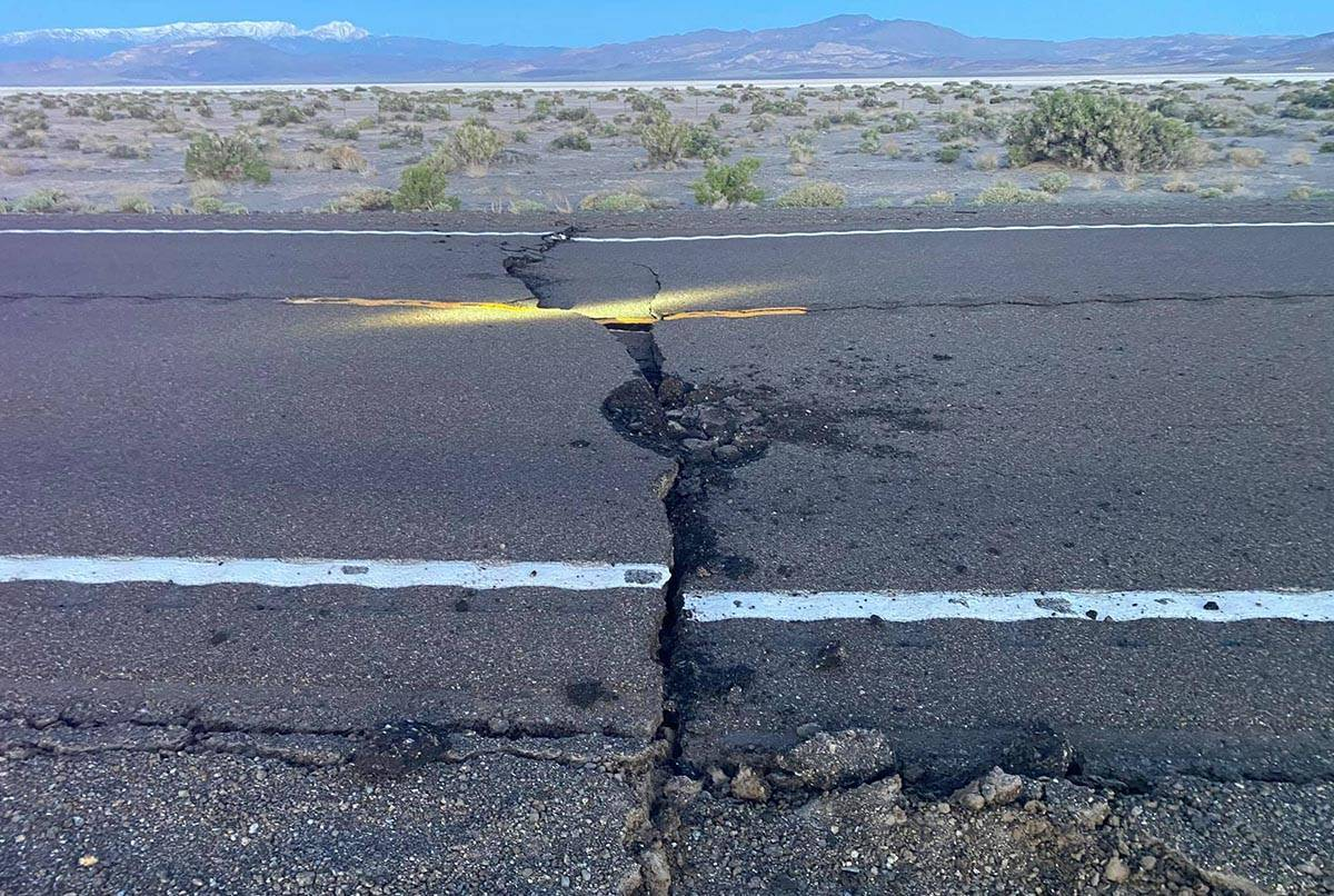 Road separation is evident on U.S. Highway 95 near Coaldale in western Nevada after a 6.5-magni ...