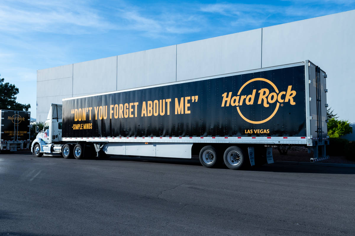 An 18-wheeler is shown hauling items from the Hard Rock Hotel's rock 'n' roll memorabilia colle ...
