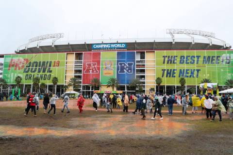 A general view exterior of Camping World Stadium is seen before the NFL Pro Bowl football game, ...