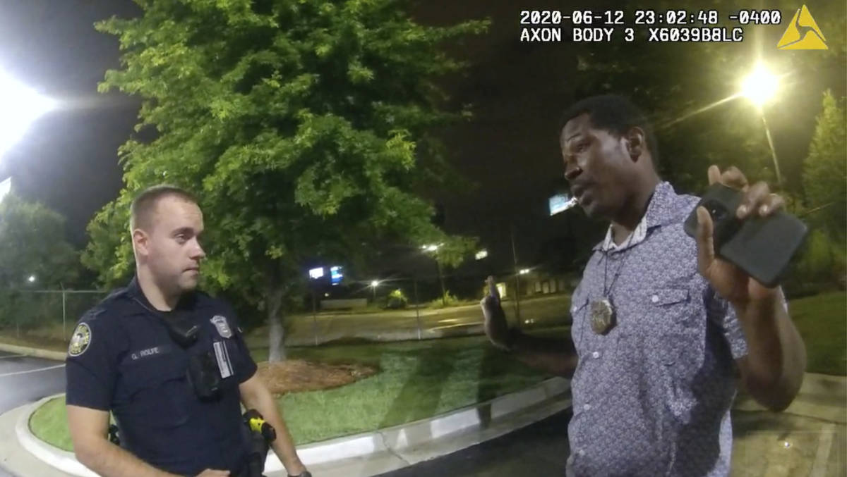 This screen grab taken from body camera video provided by the Atlanta Police Department shows R ...