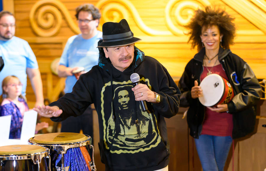 Carlos Santana and Cindy Blackman Santana appear at a Discovery Children's Museum as part of th ...