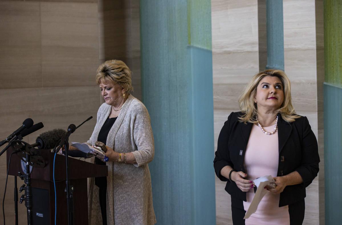 Las Vegas Mayor Carolyn Goodman speaks after Las Vegas City Councilwoman Michele Fiore announce ...