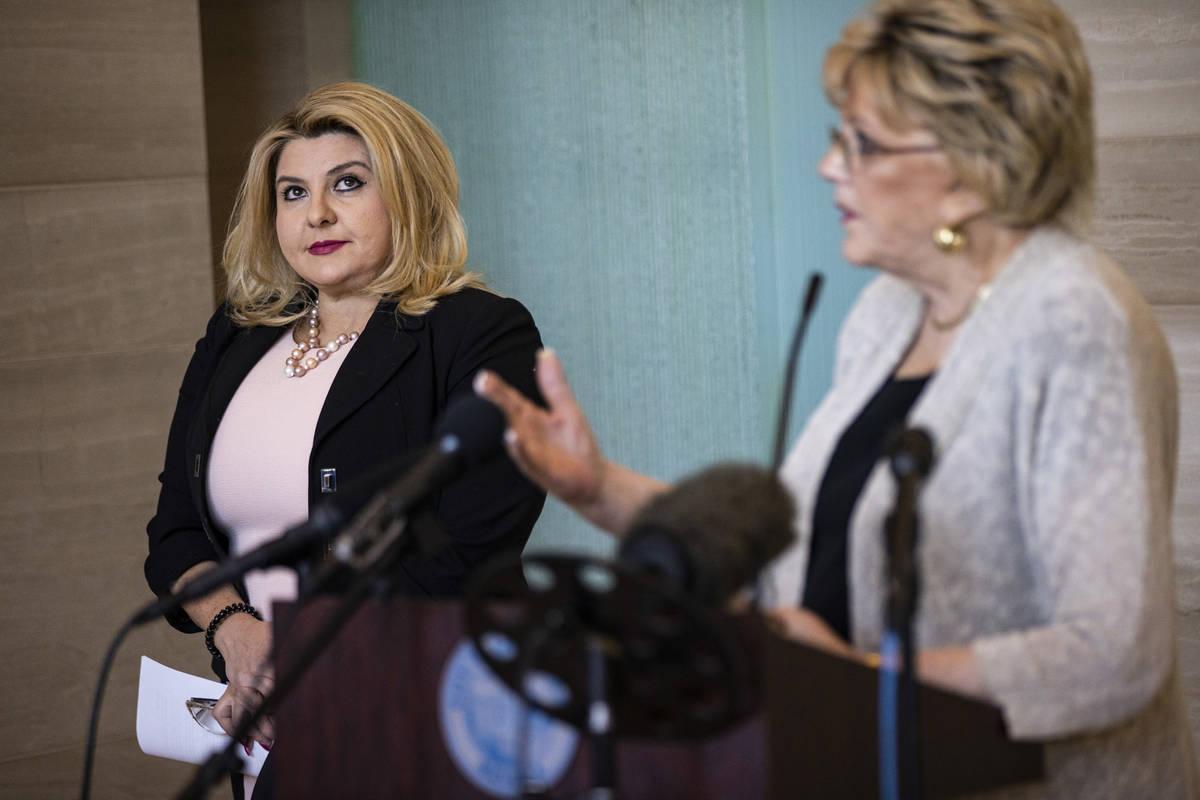 Las Vegas Mayor Carolyn Goodman, right, speaks after Las Vegas City Councilwoman Michele Fiore ...