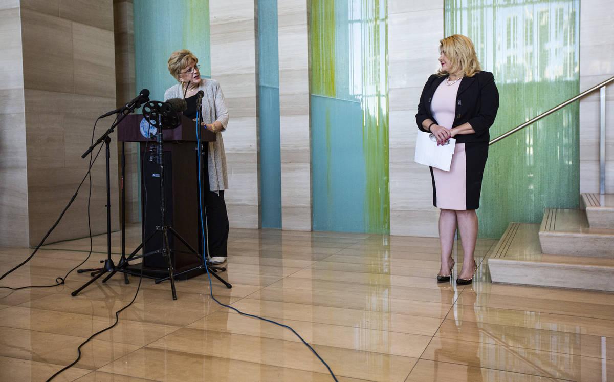 Las Vegas Mayor Carolyn Goodman, left, speaks after Las Vegas City Councilwoman Michele Fiore a ...