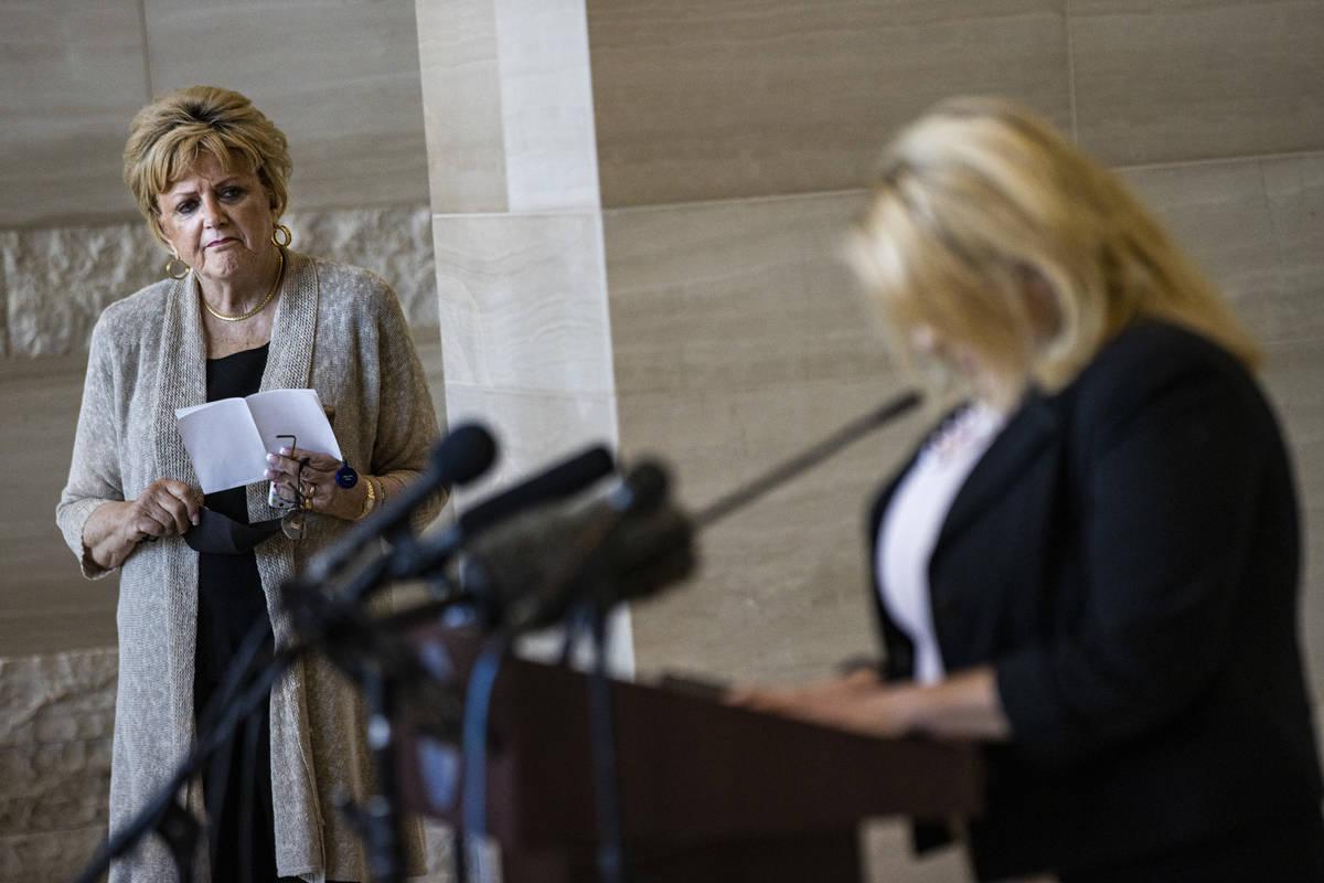 Las Vegas Mayor Carolyn Goodman looks on as City Councilwoman Michele Fiore announces that she ...