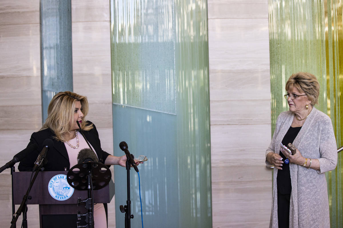 Las Vegas City Councilwoman Michele Fiore responds to questions that she is stepping down as ma ...