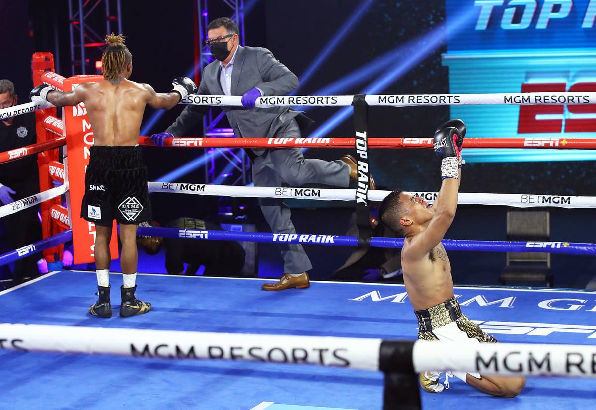 Joshua Greer Jr. (dark trunks) vs. Mike Plania inside the MGM Grand's Grand Ballroom on Tuesday ...