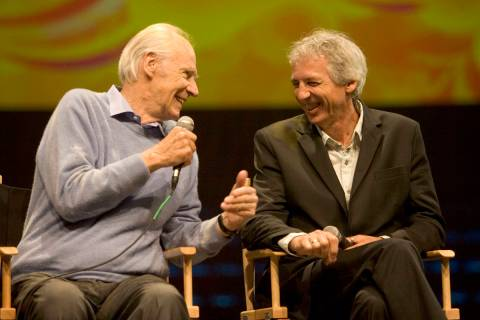 FILE--Sir George Martin (left), music director for Cirque du Soleil's LOVE, and Gilles Ste-Croi ...