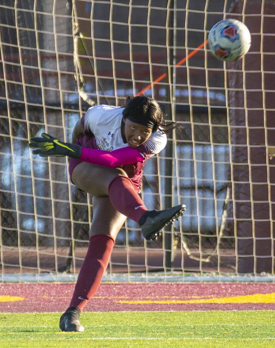 Faith Lutheran's goal keeper Jordan Brown (47) kicks the ball to teammates versus Arbor View du ...