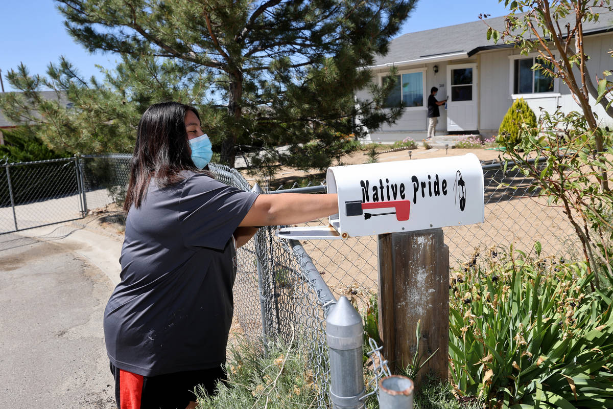 Jenna Moody, 17, and Justin Moody, 14, members of Reno-Sparks Indian Colony's United National I ...