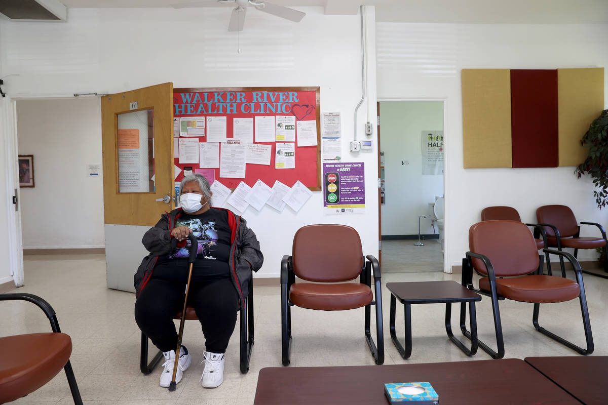 A tribal member who declined to give her name waits for an appointment at Walker River Paiute T ...