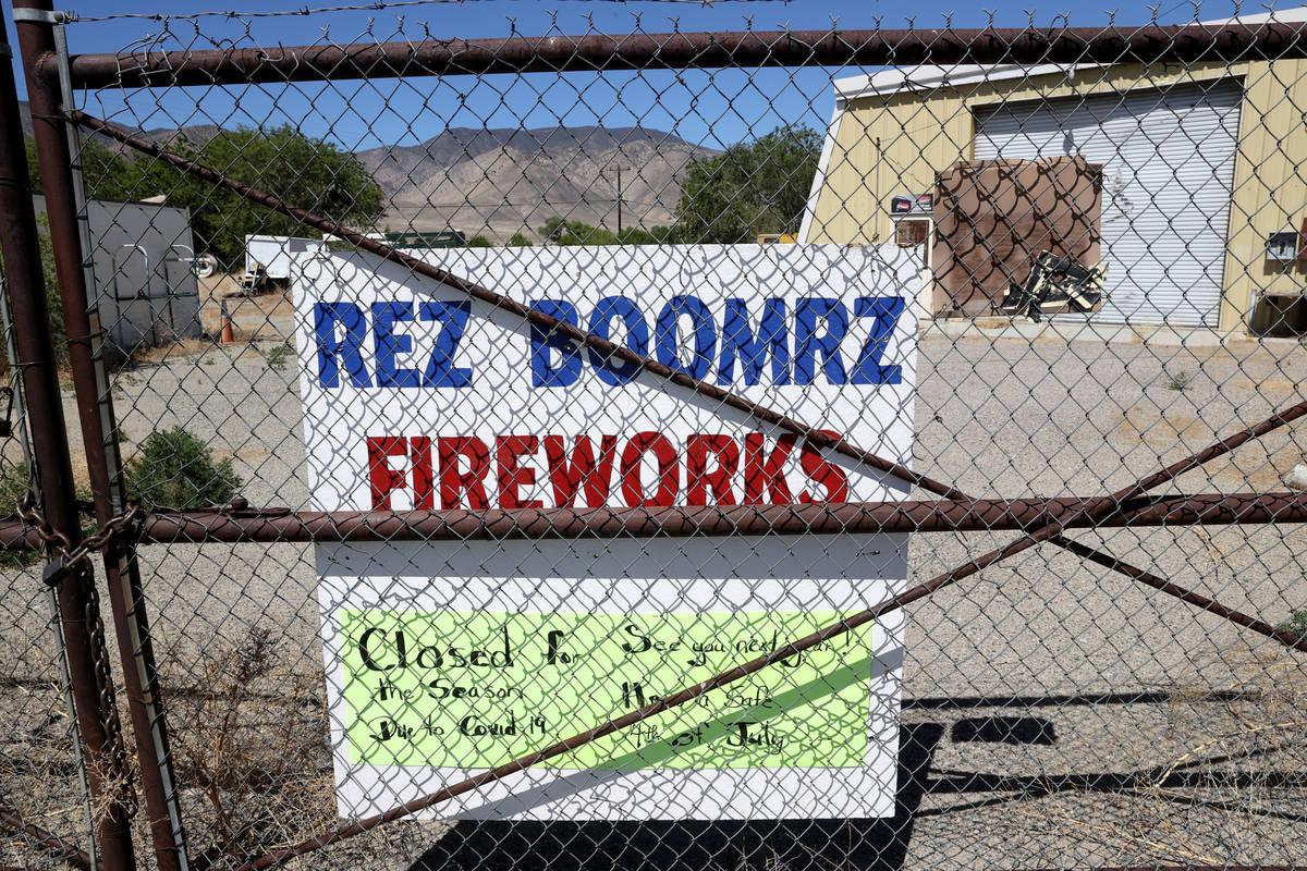 A closed fireworks store at Walker River Indian Reservation in Schurz Thursday, June 18, 2020. ...