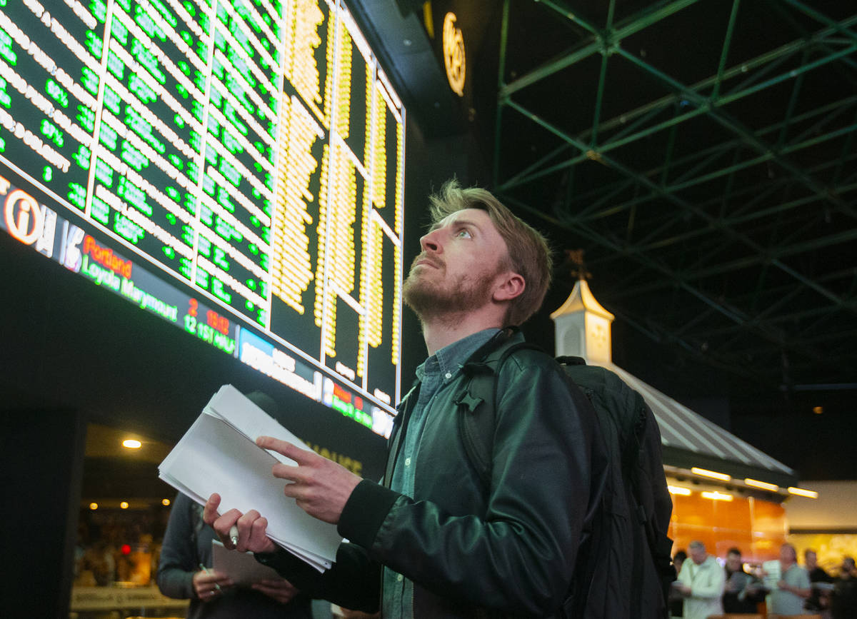 Professional sports bettor Rufus Peabody is shown at the Westgate sportsbook Thursday, Jan. 23, ...