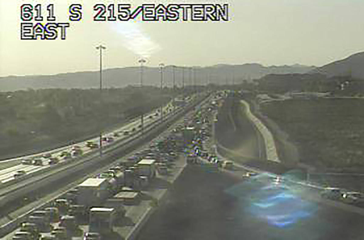 Traffic is heavy at Eastern and the 215 Beltway in Henderson after a closure near Pecos Road fo ...