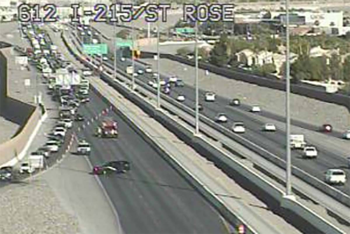 A crash on the 215 Beltway near Pecos Road has closed the eastbound lanes, Thursday, June 18, 2 ...