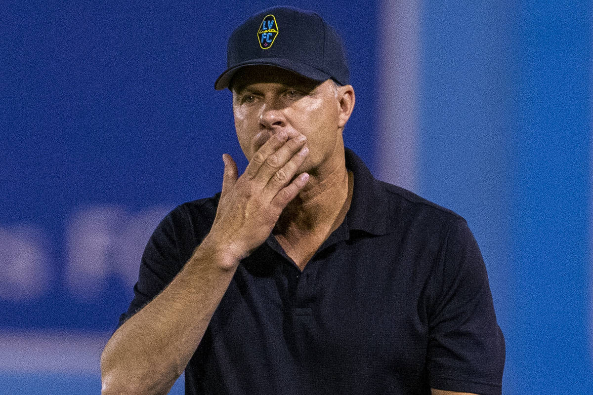 Las Vegas Lights FC head coach Eric Wynalda is in thought on the sidelines during their game ve ...