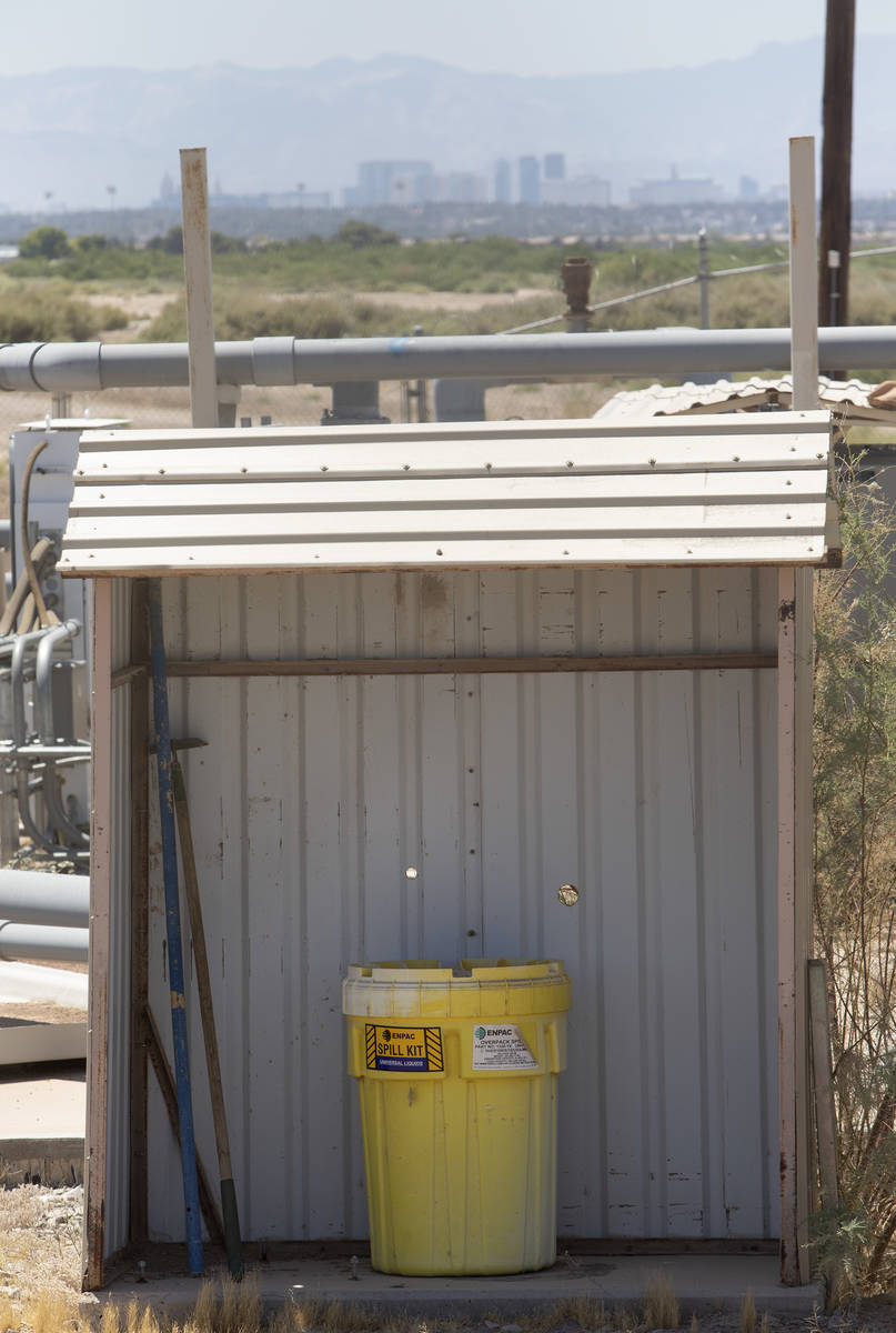 A spill kit is seen at a perchlorate well in Henderson on Monday, June 22, 2020. The Environmen ...