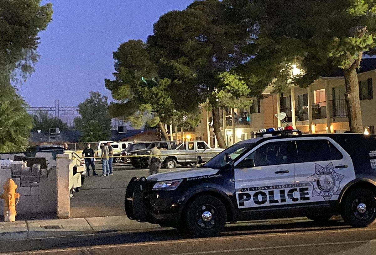 Las Vegas police on the scene early on Thursday, May 28, 2020, after a homicide was reported la ...
