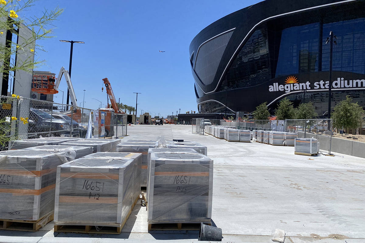 Pallets of Raiders Legacy Bricks sit in front of Allegiant Stadium. (Mick Akers/Las Vegas Revie ...