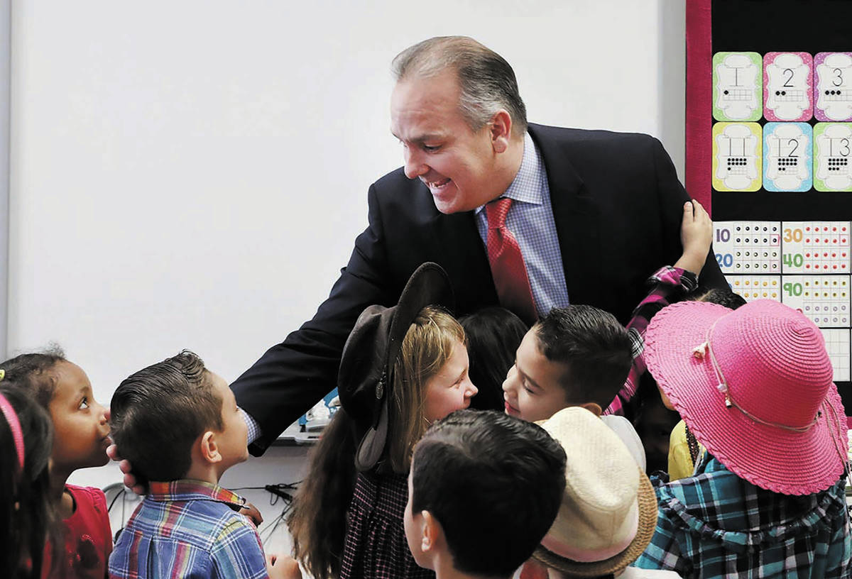 Clark County School District superintendent Dr. Jesus Jara says goodbye to a kindergarten clas ...