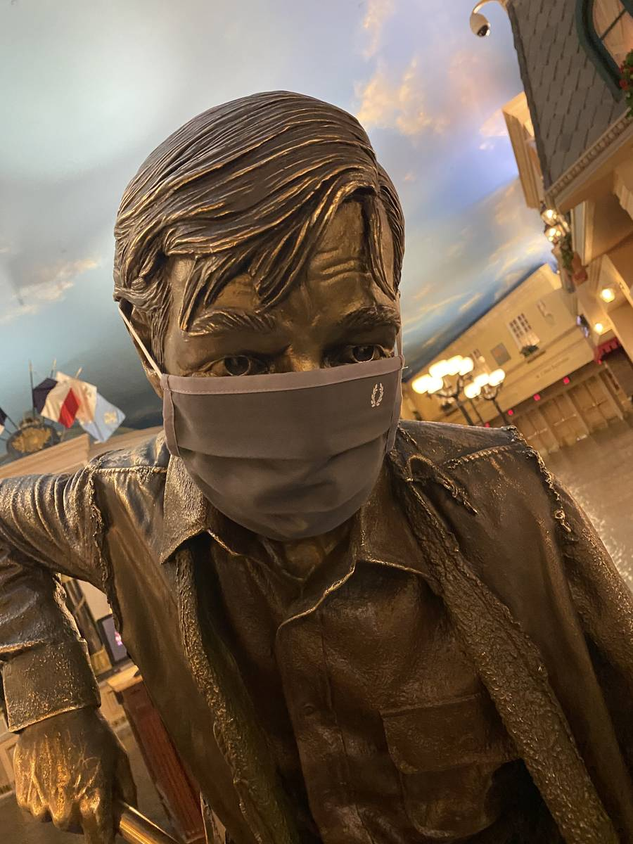 The Aftermath statue is shown at Le Boulevard promenade at Paris and Bally's on Thursday, June ...