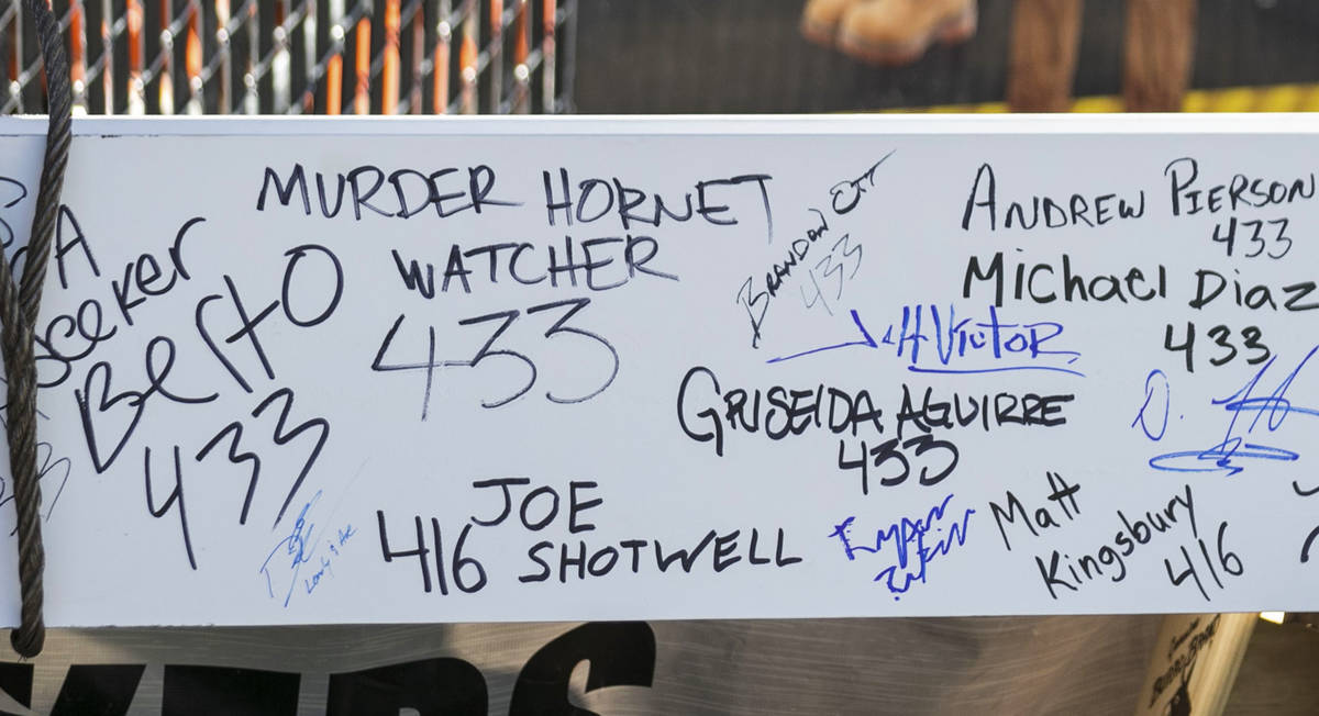 The last steel beam with signatures of attendees during a topping off ceremony at the future of ...