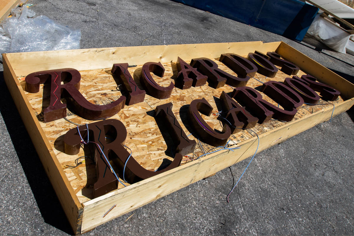 Signs from Ricardo's are seen at the back of DHS Signs before being sent to the Neon Museum in ...