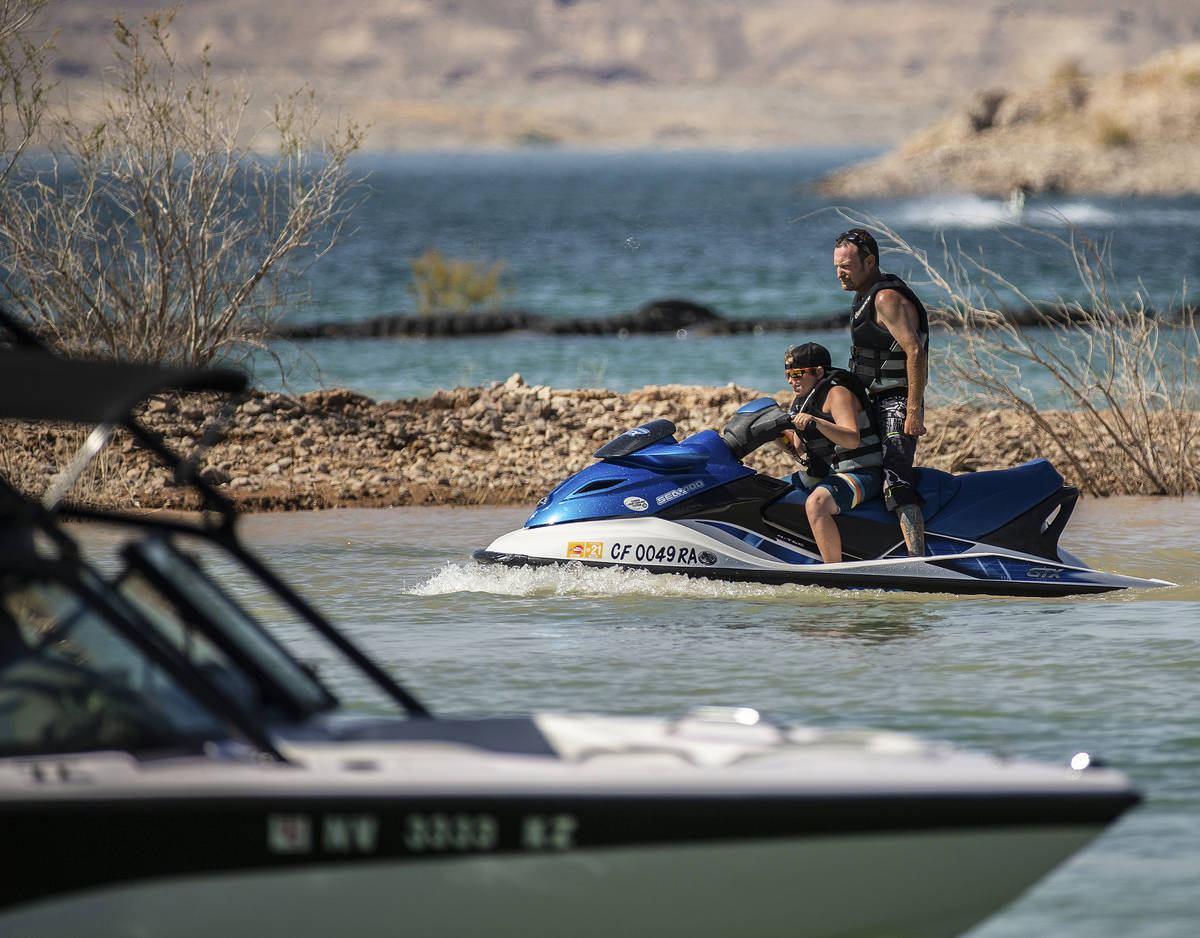 People enjoy jet skiing and boating at Lake Mead on Saturday, June 20, 2020, in Boulder City. N ...