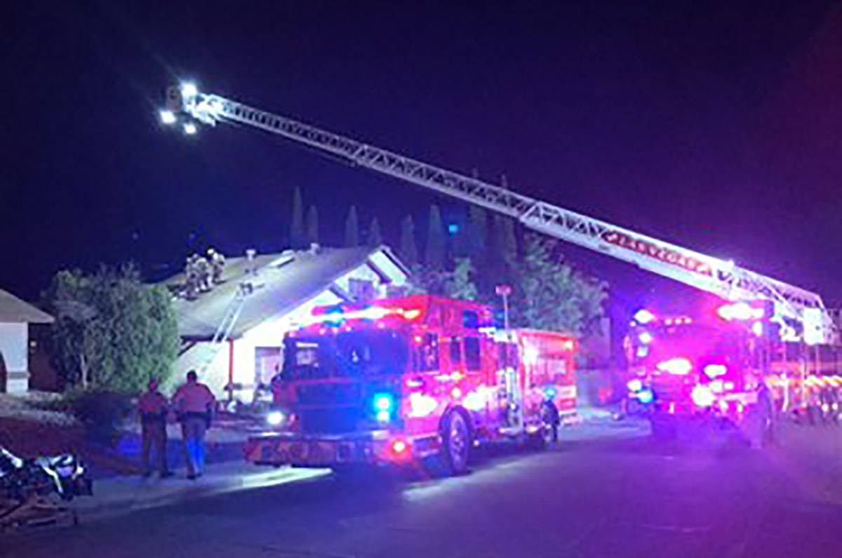 Las Vegas fire crews respond to a house fire at 5116 Arbor Way on Friday, June 19, 2020. (Las V ...