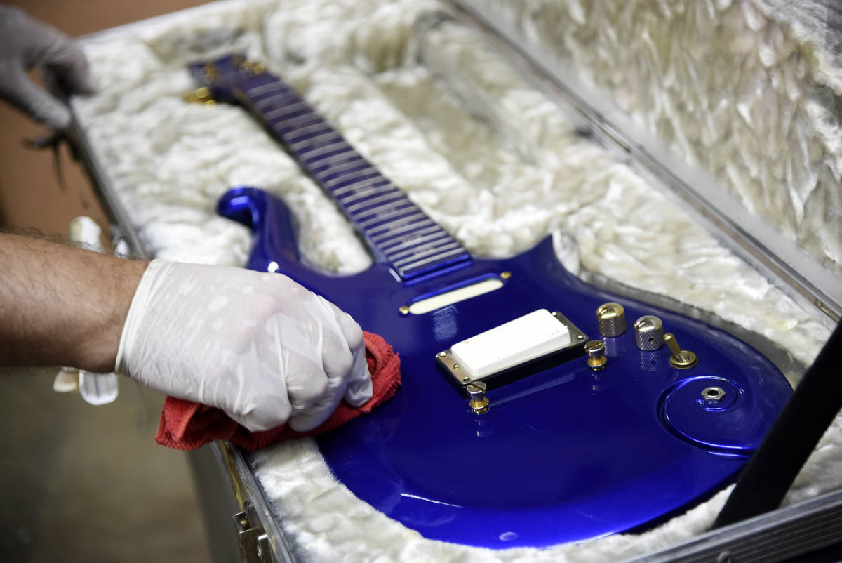 """FILE - In this May 6, 2020 file photo, the """"Blue Angel"""" Cloud 2 electric guitar c ..."""