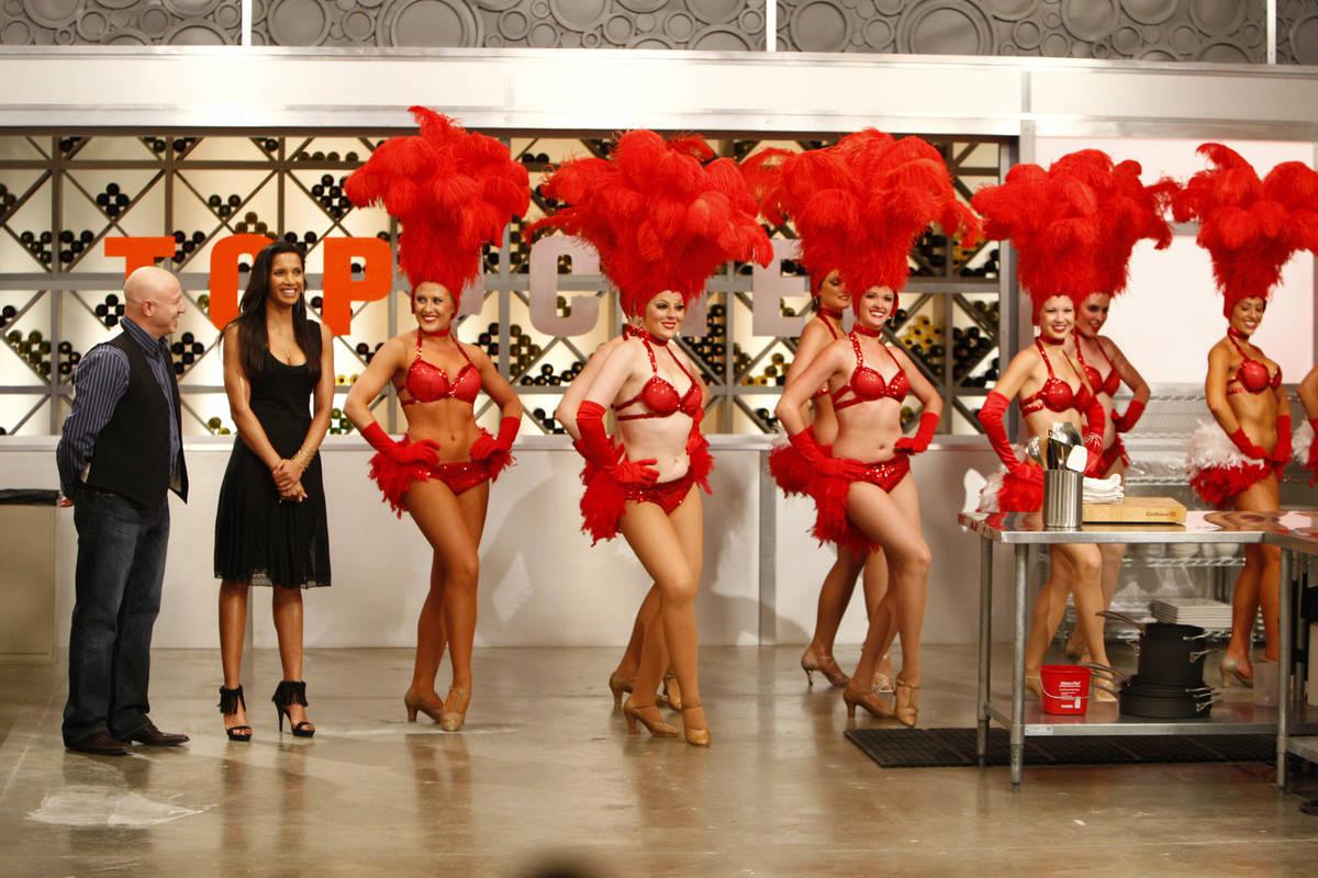 TOP CHEF -- Episode 601 -- Pictured:(l-r) Tom Colicchio, Padma Lakshmi shown with Las Vegas sho ...