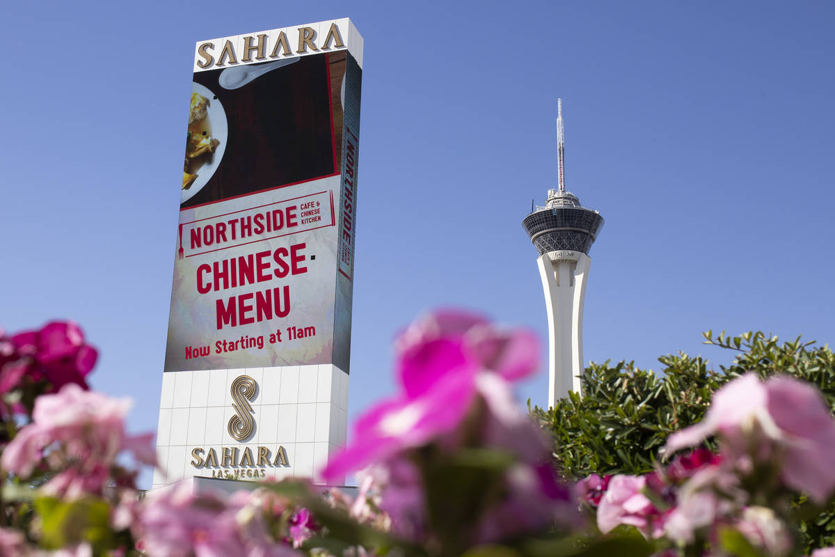 Sahara Las Vegas' marquee features an advertisement for its Northside Cafe on Monday, June 22, ...