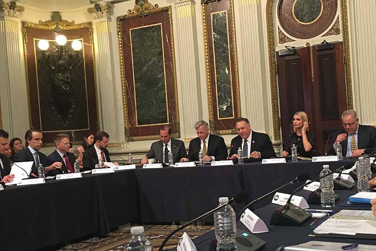Health and Human Services Secretary Alex Azar, Ambassador at Large for human trafficking John R ...