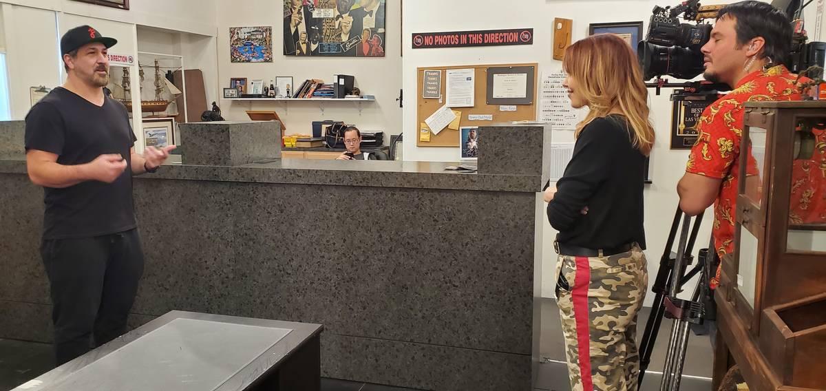 "Joey Fatone, ""Pawn Stars"" producer Tracy Whittaker and camera operator are shown recording Fato ..."