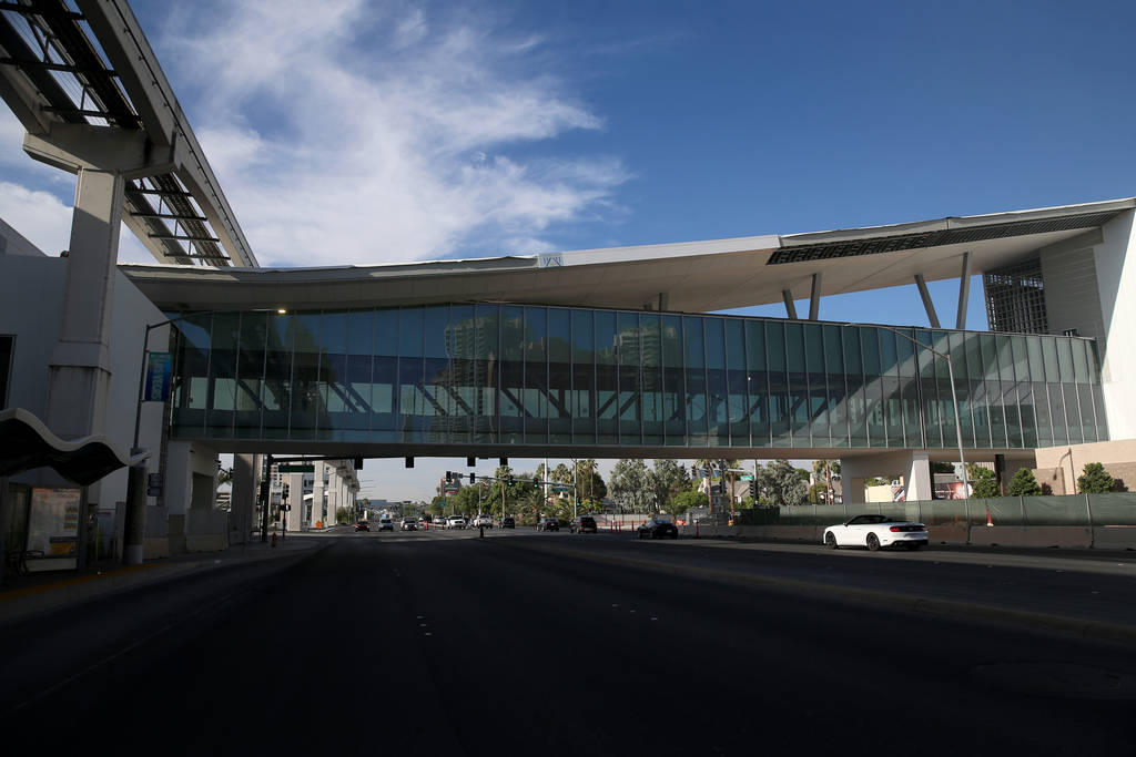 The pedestrian bridge connecting the Las Vegas Convention Center expansion project with North H ...