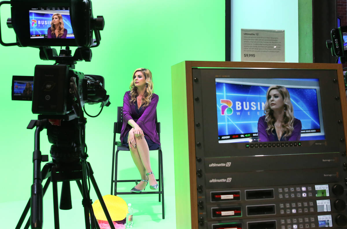 A model is displayed on a screen of Blackmagic's design, Ultimatte12, right, an advanced real t ...