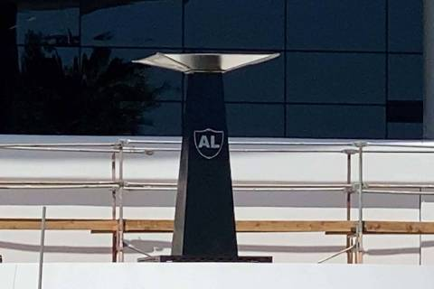 The Al Davis Memorial Torch that stood at the Oakland-Alameda Coliseum was installed Monday at ...