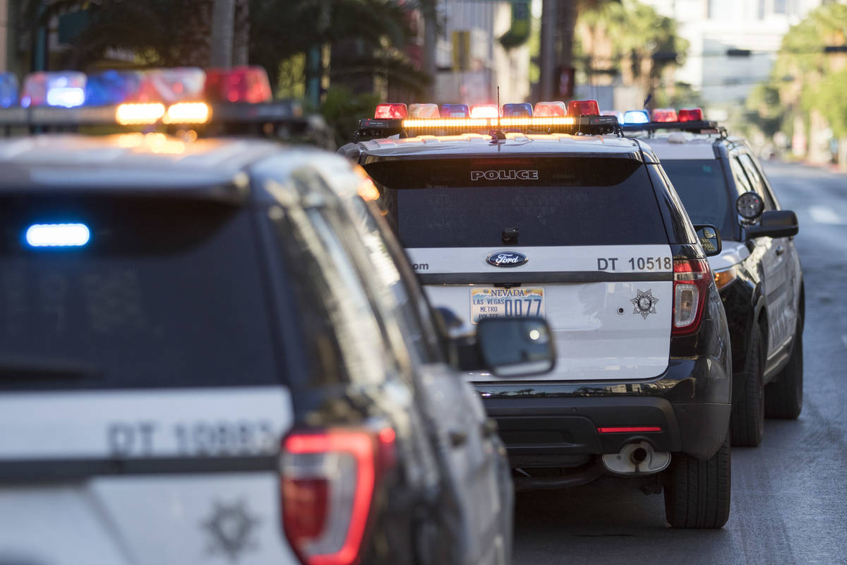 Las Vegas police investigate reports of shots fired at the Neonopolis underground parking garag ...
