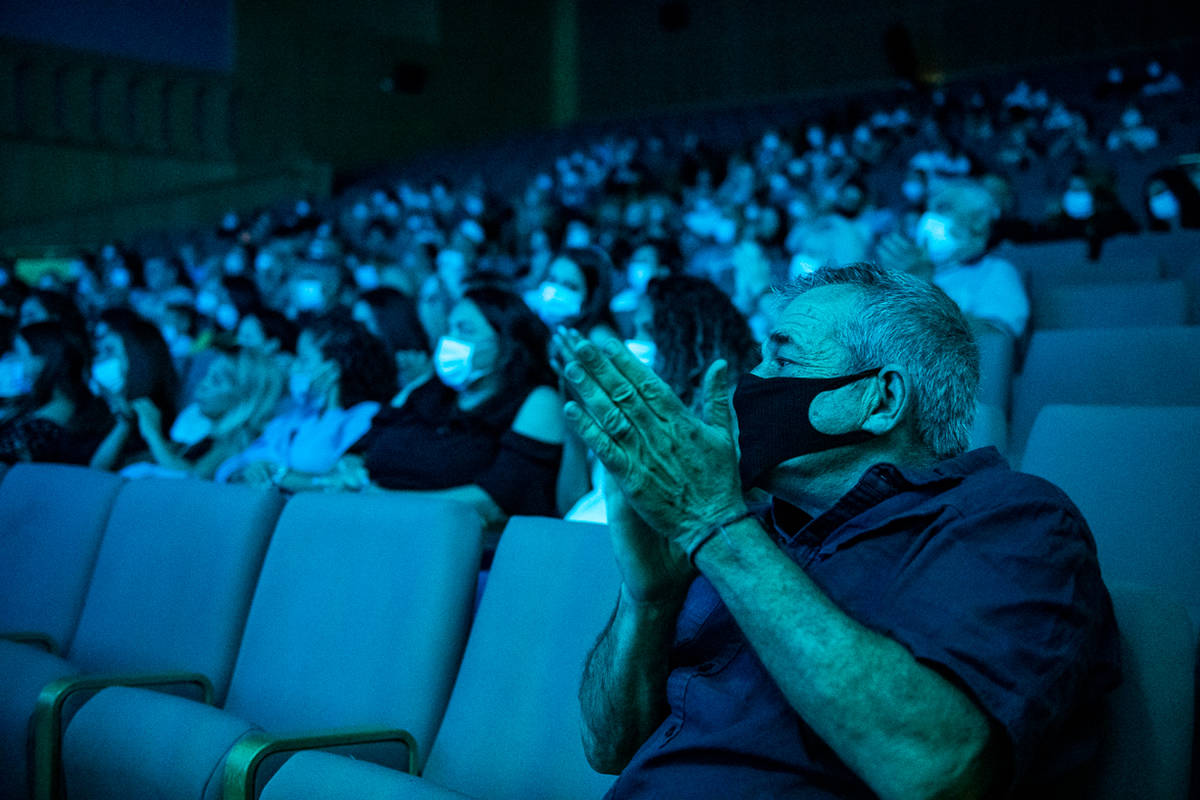 """The audience is shown at the reopening of """"Wow To The Future"""" at Isrotel Royal's Garden Theater ..."""