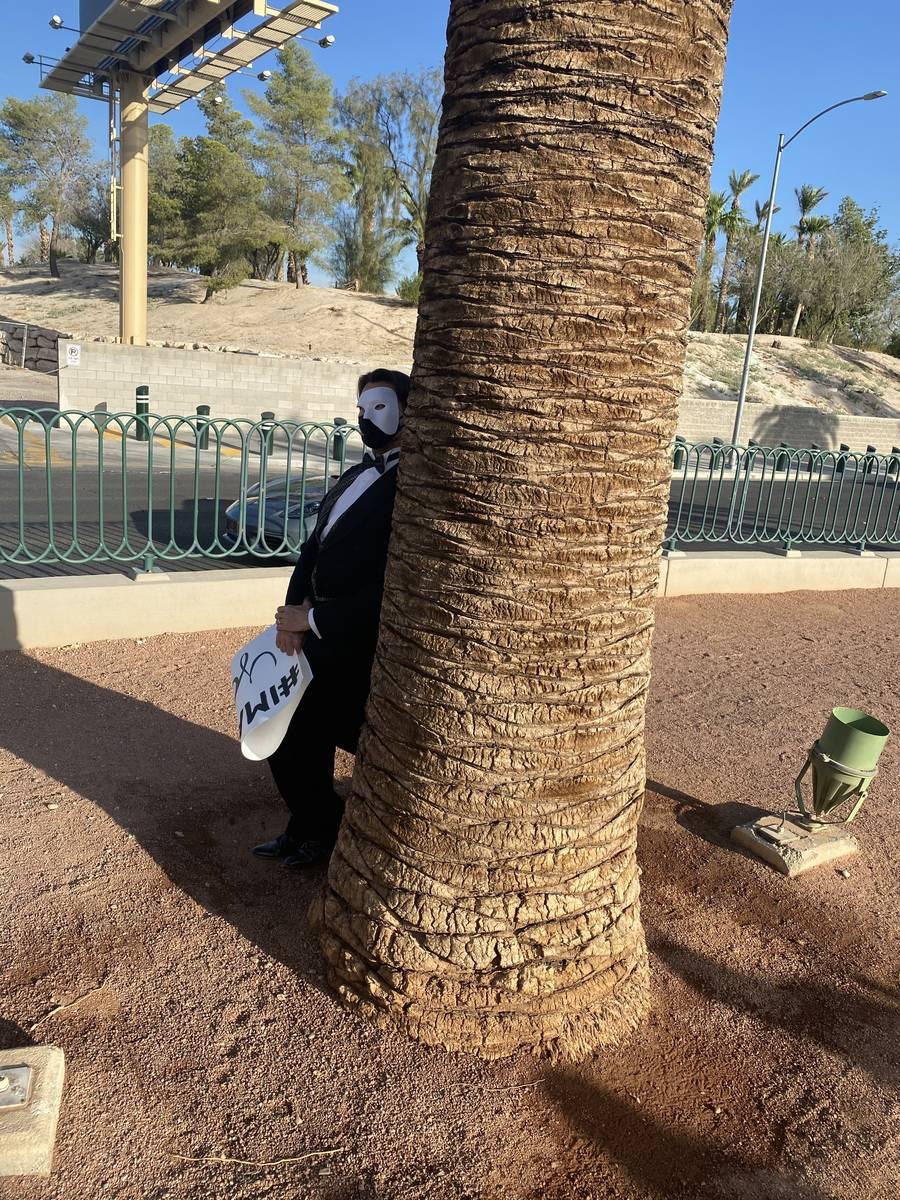 "Former ""Phantom -- Las Vegas Spectacular"" star Brent Barrett seeks shade at the Welcome to Fabu ..."
