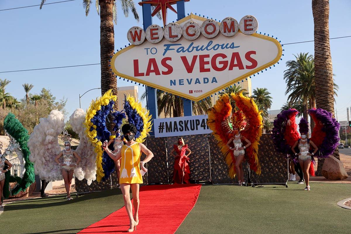 Edie from Zumanity by Cirque du Soleil walks the red carpet at the Welcome to Fabulous Las Vega ...