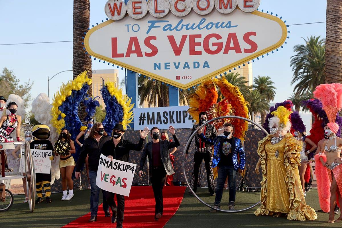 The Australian Bee Gees, walk the red carpet at the Welcome to Fabulous Las Vegas sign on the s ...