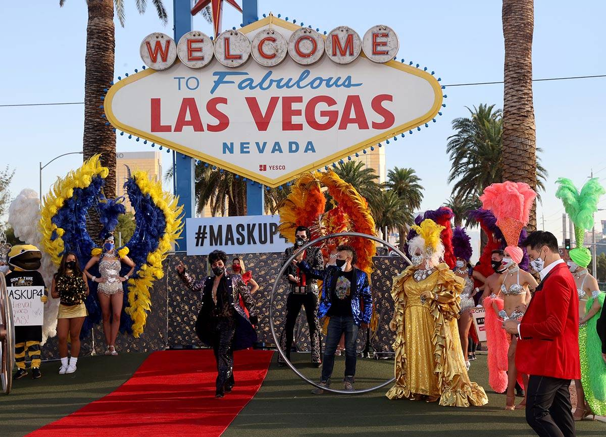 Prince Impersonator, Tony Torres, walks the red carpet at the Welcome to Fabulous Las Vegas sig ...