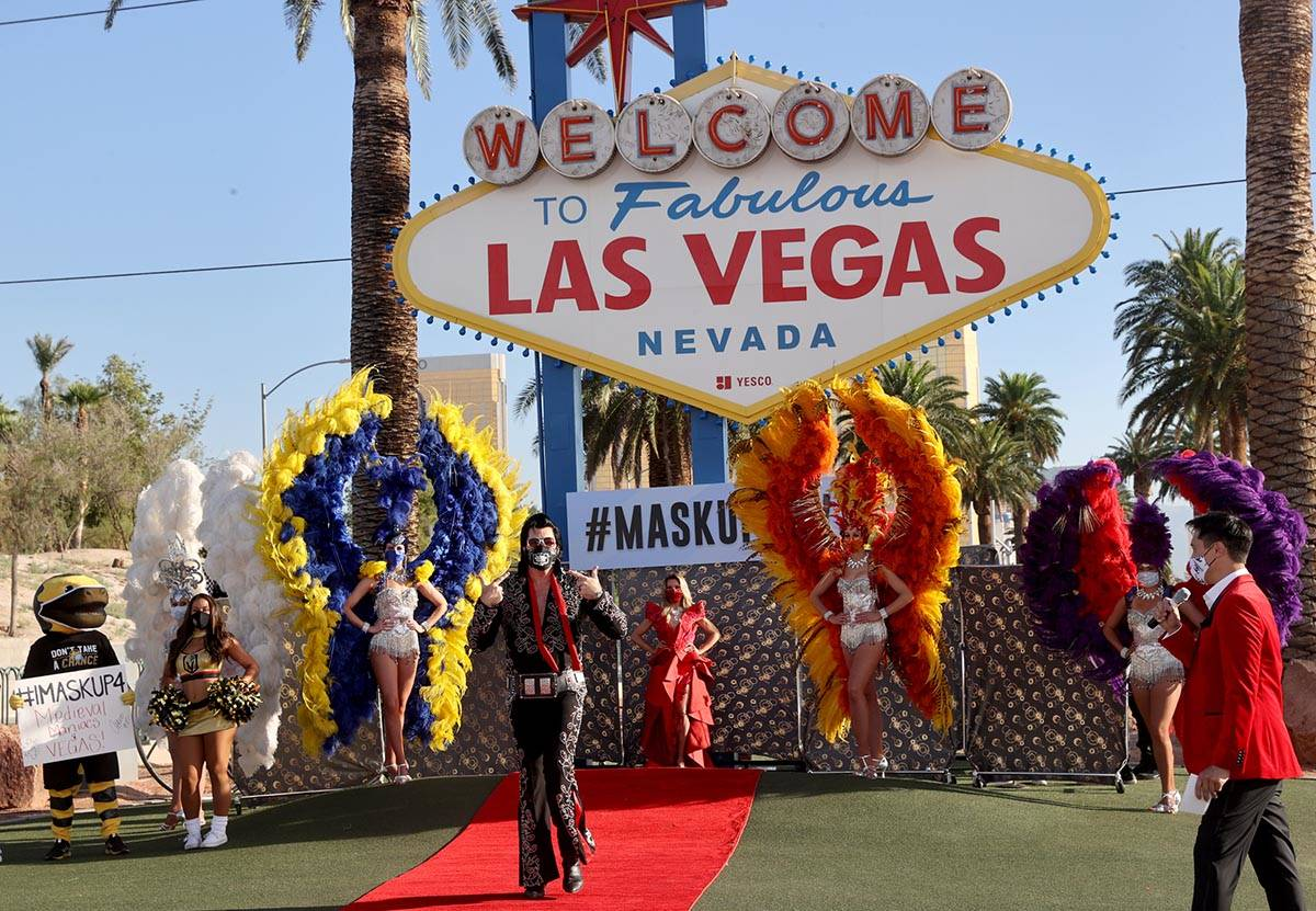 Elvis Impersonator Brendan Paul walks the red carpet at the Welcome to Fabulous Las Vegas sign ...