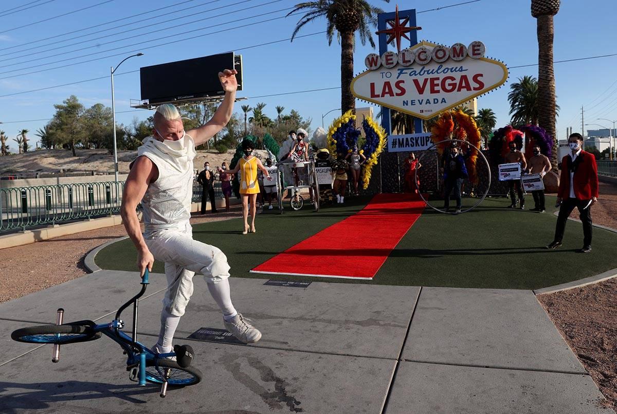 "BMX rider Blake Hicks ""walks"" the red carpet at the Welcome to Fabulous Las Vegas sig ..."