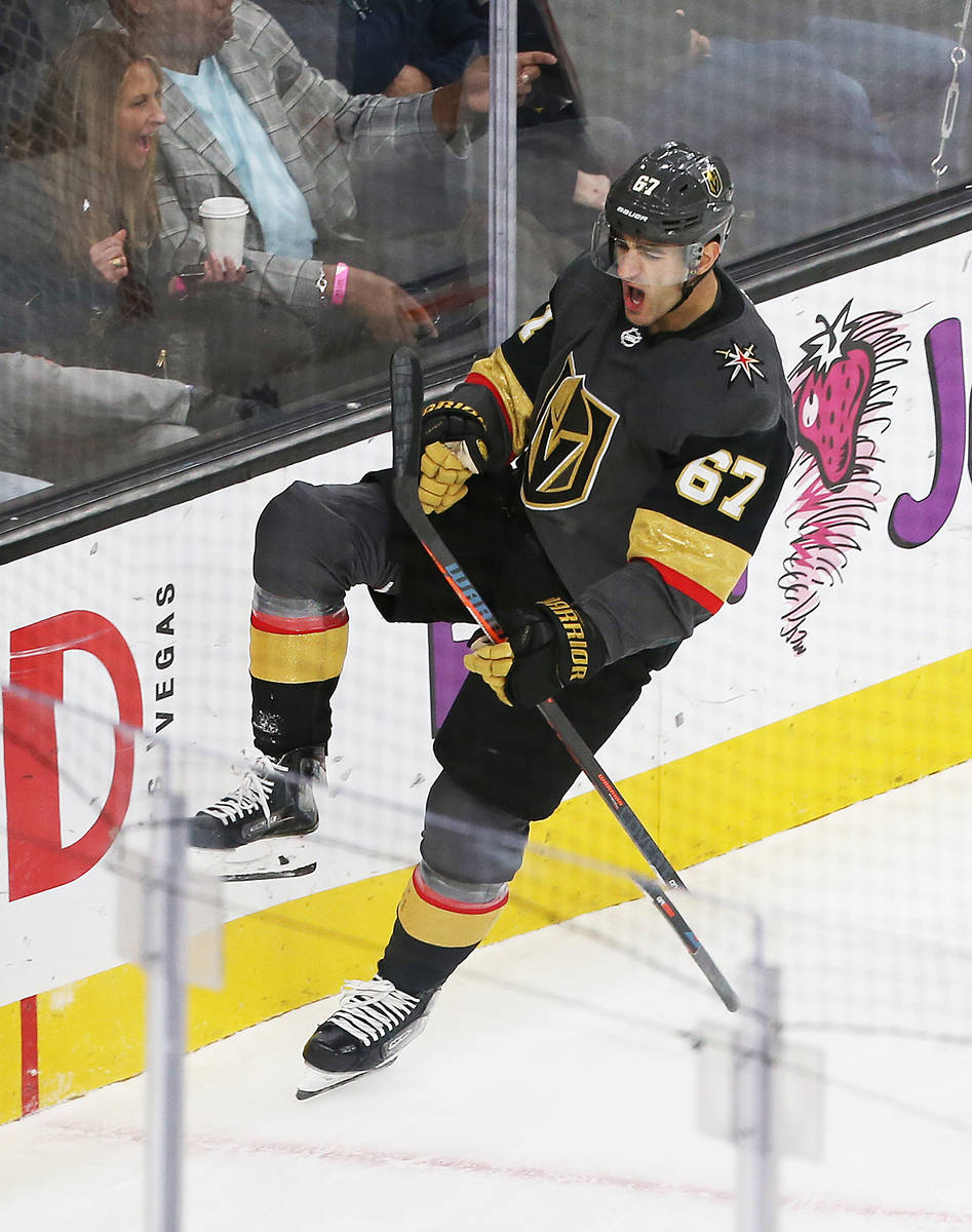 Vegas Golden Knights left wing Max Pacioretty (67) celebrates after scoring a first period goal ...