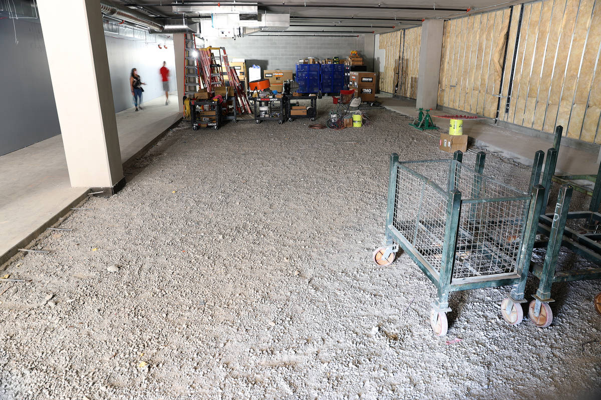 A locker room under construction at the Henderson Silver Knights practice facility Lifeguard Ar ...
