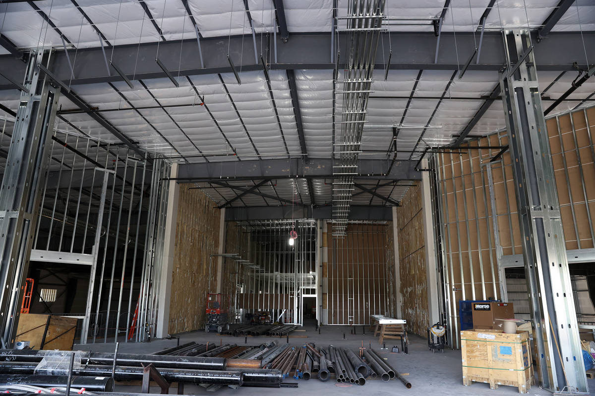 The food court area under construction inside the Henderson Silver Knights practice facility Li ...
