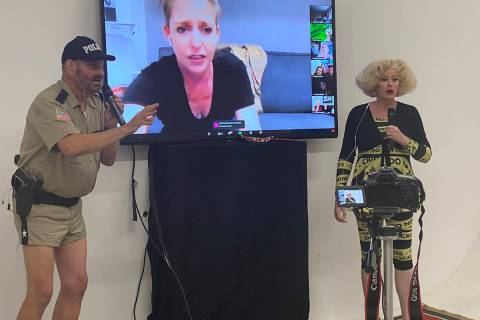 "Eric Post and Jayne Ann Savoie Post are shown in a virtual performance of ""Marriage Can Be Murd ..."