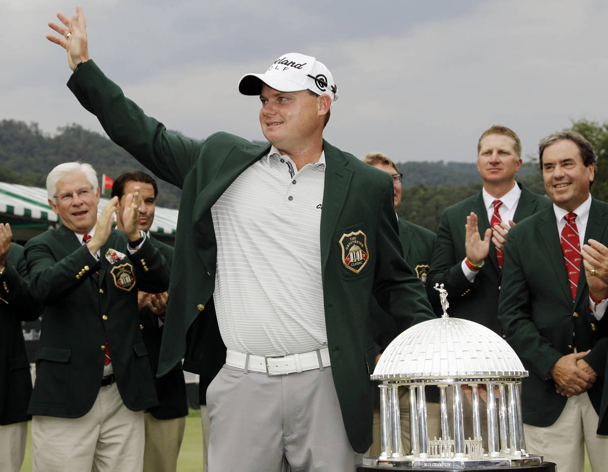 Ted Potter Jr. waves to the crowd as he celebrates winning the Greenbrier Classic PGA Golf tour ...